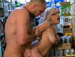 Savory blond Dee gets large pecker as a present