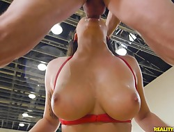 Skinny darling Karlee Grey finds a large sausage