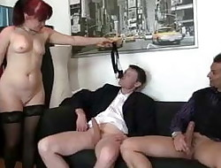 Redhead mature female gets dual fucked