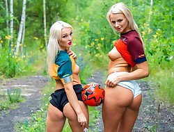 A Doll KNOWS - Blonde football fans go for hot lesbian sex