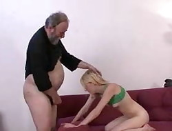 She gets punished and fucked by granpa