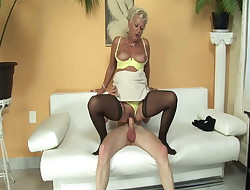 Horny neighbor fucks mature lady!