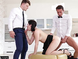 Lady Dee fucks the room service waiter and her bf in